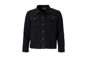 Duke Mens Kingsize Western Trucker Style Denim Jacket (Black)