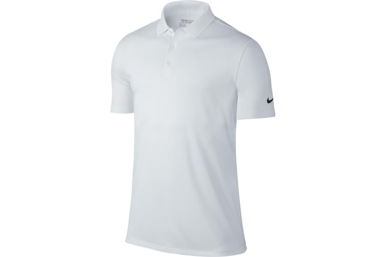 Nike Mens Victory Short Sleeve Solid Polo Shirt (White) (S)