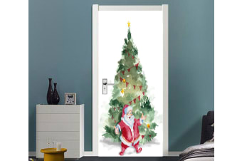 3D Christmas Xmas Tree Santa Claus 5 Door Mural Woven paper (need glue)