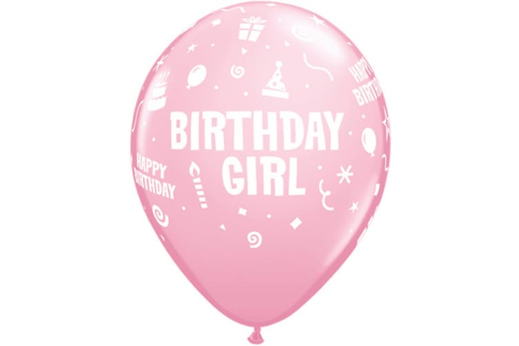 Qualatex 11 Inch Birthday Boy/Girl Latex Balloons (Pack Of 6) (Pink) (One Size)