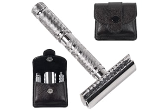 Parker 4 Piece Travel Safety Razor And Leather Case Set