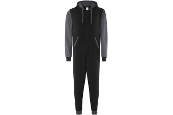 Comfy Co Adults Unisex Two Tone Contrast All-In-One Onesie (Black Charcoal)