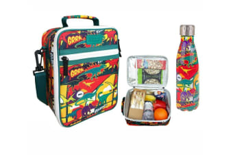 SACHI Insulated Lunch Tote Bag with OASIS Drink Bottle 350ml Carry DINOSAURS