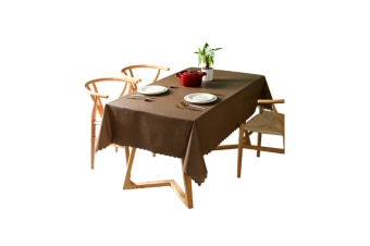 Pvc Waterproof Tablecloth Oil Proof And Wash Free Rectangular Table Cloth Brown 110*110Cm