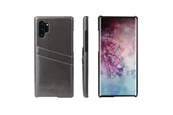For Samsung Galaxy Note 10+ Plus Case Grey Deluxe PU Leather Back Shell Cover