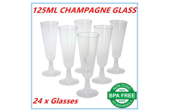 24 Disposable Plastic Champagne Flutes 125ml Wedding Party Wine Glasses Glass FD