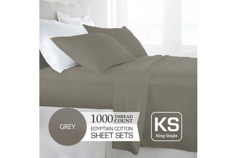 King Single Size Grey 1000TC Egyptian Cotton Sheet Set