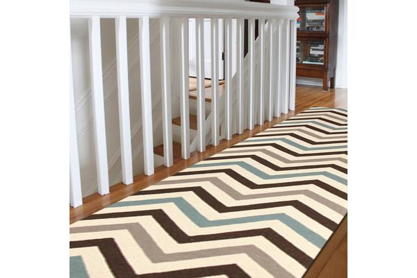 Flat Weave Chevron Design Rug Blue Brown 400x80cm