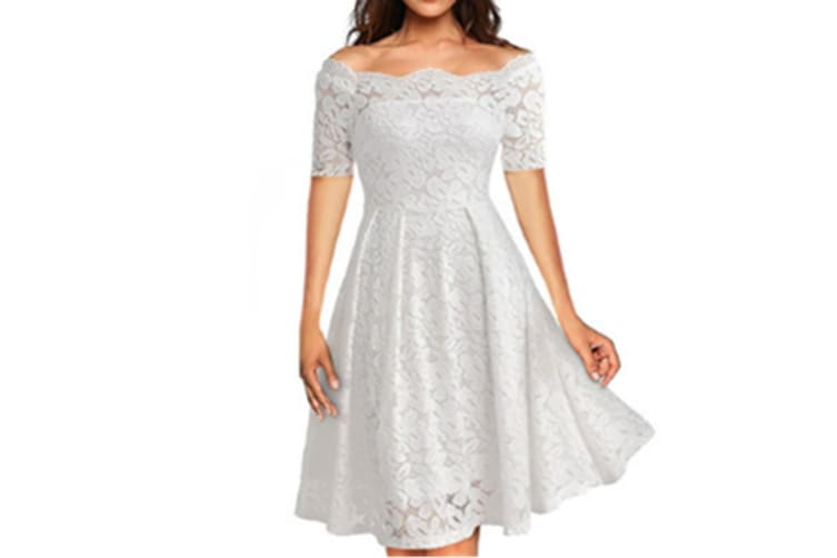 Women'S Cocktail Floral Lace Off Shoulder Evening Party Dress White Xl Short Sleeve