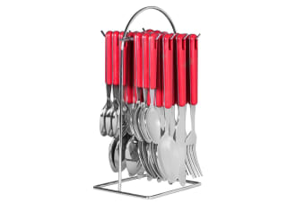 24pc Avanti Hanging Cutlery Set Stainless Steel Tea Spoon Fork Knife w  Rack Red