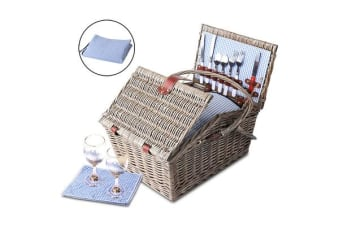 Alfresco 4 Person Picnic Basket (Blue/White)