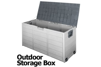 290L Plastic Outdoor Storage Box Container Weatherproof (Grey)
