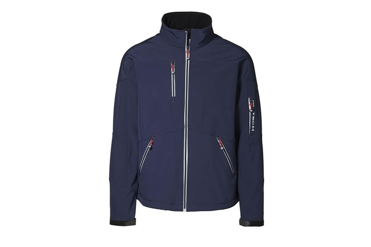 ID Mens Contrast Regular Fitting Soft Shell Jacket (Navy) (M)