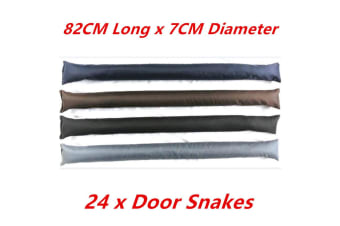 24 x Plain Color DOOR SNAKE Saw Dust n Rock Filled Draft Stopper Draught Excluder Heavy Duty