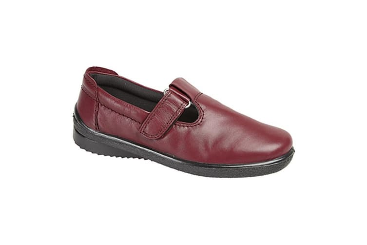Mod Comfys Womens/Ladies Softie Leather T-Bar Leisure Shoes (Burgundy) (6 UK)