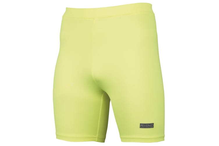 Rhino Mens Sports Base Layer Shorts (Fluorescent Yellow) (S/M)