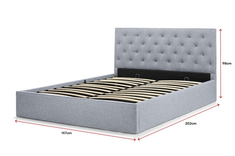 Shangri-La Bed Frame - Newport Gas Lift Collection (Pewter Grey, Double)