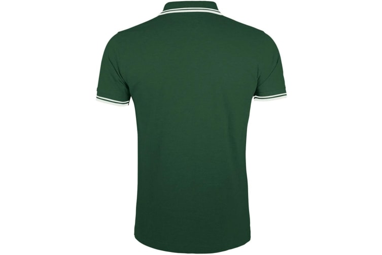 SOLS Mens Pasadena Tipped Short Sleeve Pique Polo Shirt (Forest/White) (S)