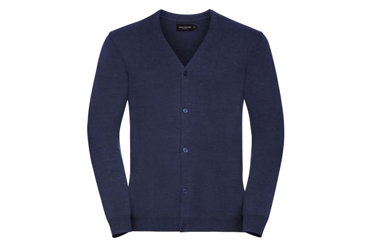 Russell Collection Mens V-neck Knitted Cardigan (Denim Marl) (S)