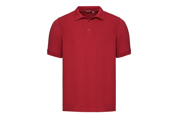 Russell Mens Tailored Stretch Pique Polo Shirt (Classic Red) (M)