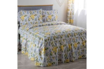 Belledorm Arabella Country Dream Bedspread (White/Blue/Lemon/Green) (Single)