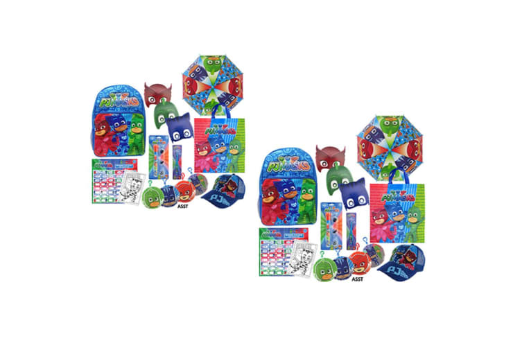 2PK PJ Masks Kids Show Bag Backpack/Umbrella/Masks/Toothbrush/Torch/Clips 3y+