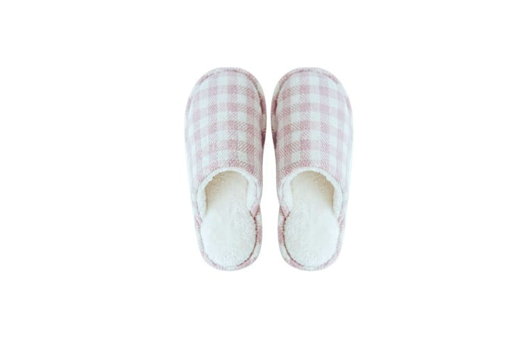 Indoor Slippers Memory Foam Wash Cotton Antiskid Household Shoes - Pink Lattice Pink 39-40(250Mm Length)