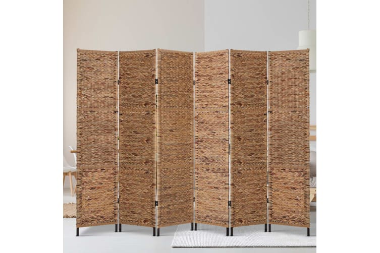 Artiss 6 Panel Room Divider Privacy Screen Water Hyacinth Patition Metal Stand