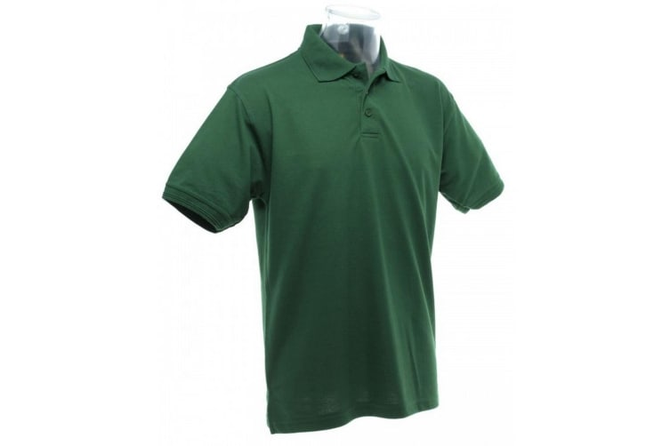 UCC 50/50 Mens Heavyweight Plain Pique Short Sleeve Polo Shirt (Bottle Green) (S)