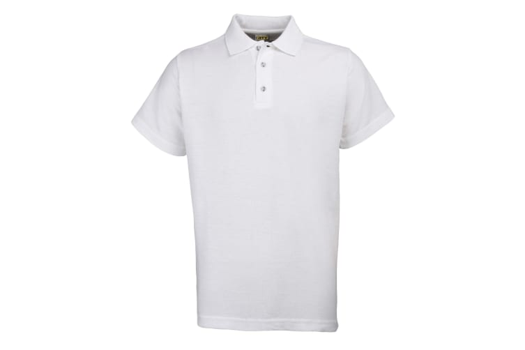 RTY Workwear Mens Pique Knit Heavyweight Polo Shirt (S-10XL) / Extra Large Sizes (White) (9XL)
