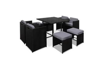 Hawaii Dining 9 Seater Set (Black/Grey)