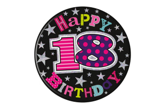 Simon Elvin 18th Birthday Giant Badge (White/Purple/Pink/Blue)