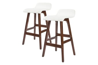 2X 65cm Oak Wood Bar Stool Leather SOPHIA - WHITE BROWN