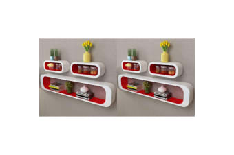 vidaXL Wall Cube Shelves 6 pcs Red and White