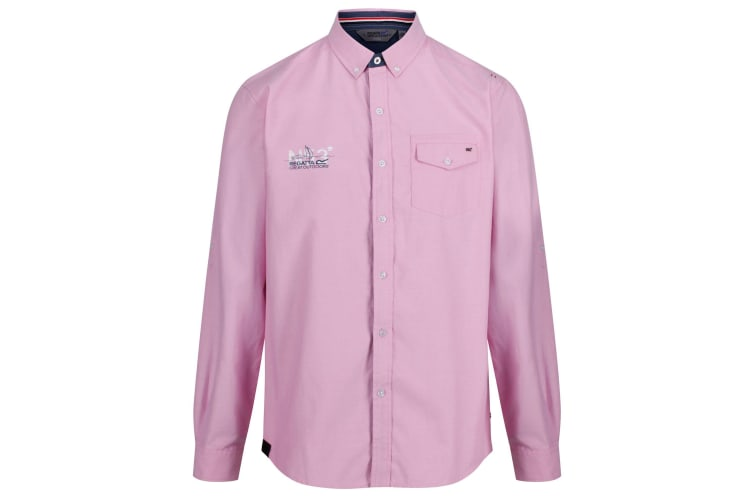 Regatta Mens Benan Long Sleeve Button Up Shirt (Cool Pink) (XXL)