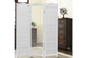 Shutter Style Foldable Room Divider in WHITE  8 Panel