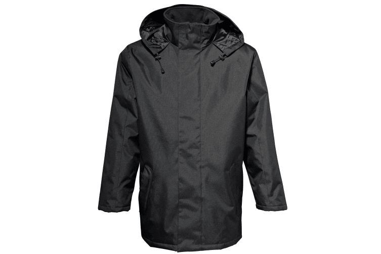 2786 Mens Plain Parka Jacket (Water & Wind Resistant) (Black) (XL)