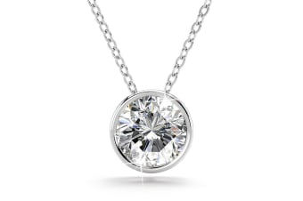 .925 Brilliant Cut Simulated Diamond Necklace-Silver