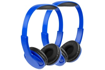 2x Vivitar Kids Tech Stereo Wired Headphones - Blue
