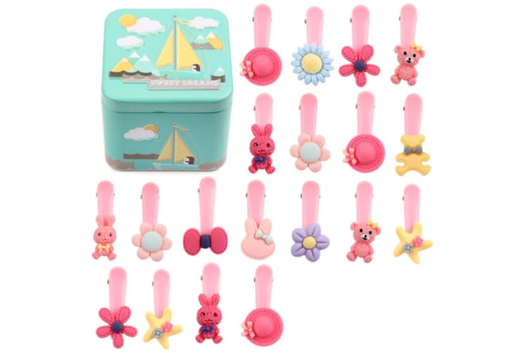 30Pcs Children'S Hair Jewelry Rope Combination Suit Leather Band Cartoon Hairpin - 7 Pink