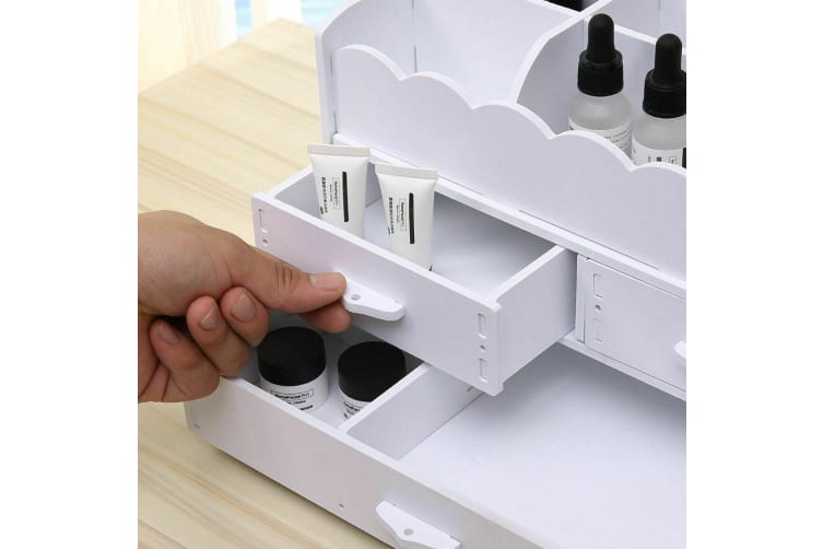 Wood-Plastic Makeup Cosmetic DIY Holder Jewellery Case Storage Organizer Drawers  -  Style A in Pink