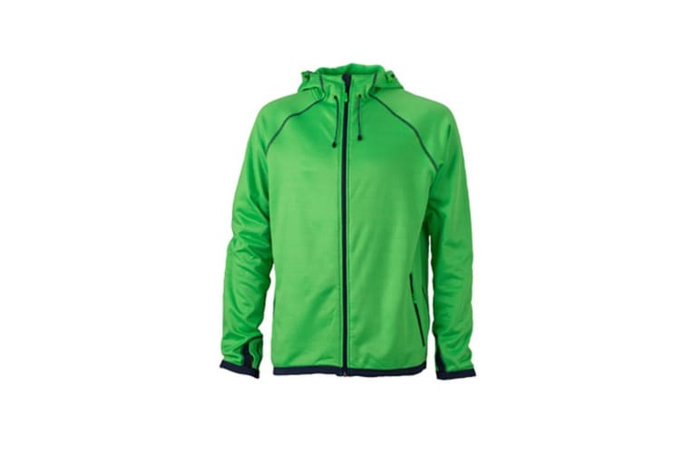 James and Nicholson Mens Hooded Fleece (Green/Navy) (3XL)