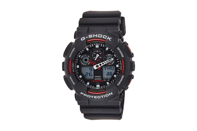 Casio G-Shock Analog Digital Watch with Shock/Water Resistance, Anti-Magnetism & Resin Band - Black/Red (GA100-1A4)