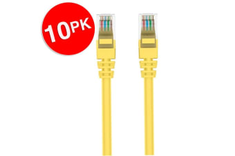 10x Belkin 2m Yellow CAT6 Network Cable Ethernet Internet RJ45 for PC/Router/LAN