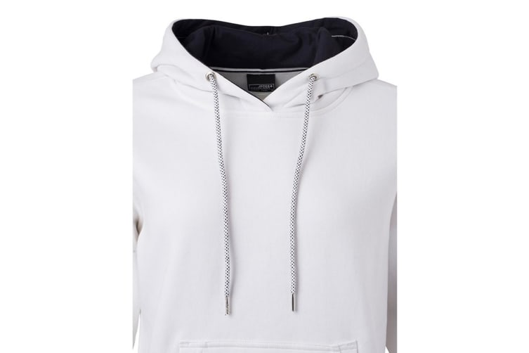 James and Nicholson Womens/Ladies Club Hoodie (White/Navy) (S)