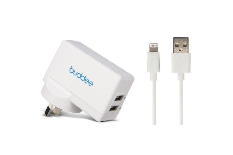 Buddee 3.1A Dual Port USB Wall Charger w 1m Lightning Cable for iPhone 7 8 X WHT