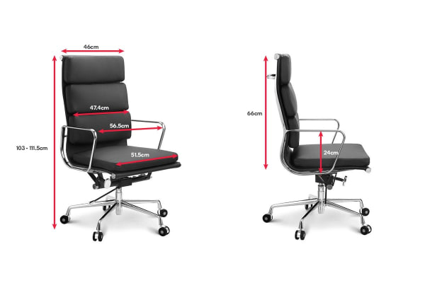 Ergolux Executive Eames Replica High Back Padded Office Chair (Black)