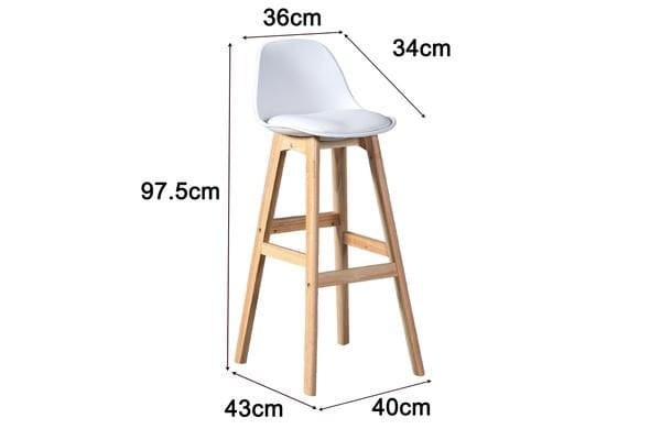 2x Beech Wood Bar Stool White BR1024