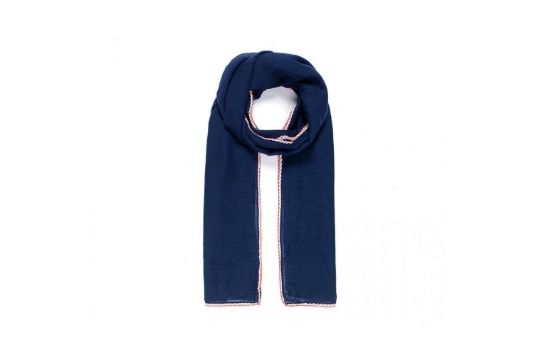 Intrigue Womens/Ladies Contrast Crochet Trim Scarf (Navy) (One Size)
