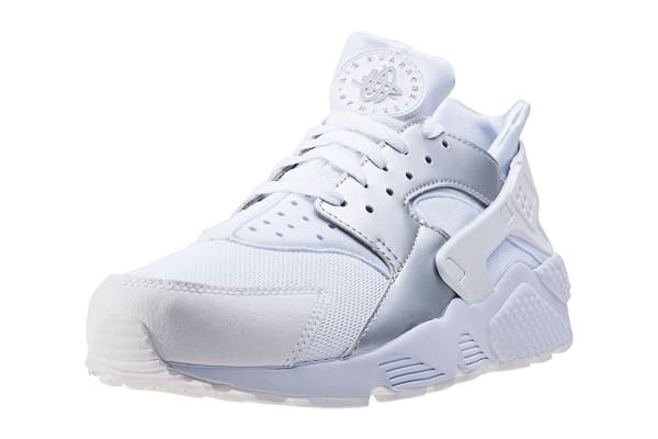 Nike Men's Air Huarache Run Running Shoe (White/Metallic Silver, Size 9)